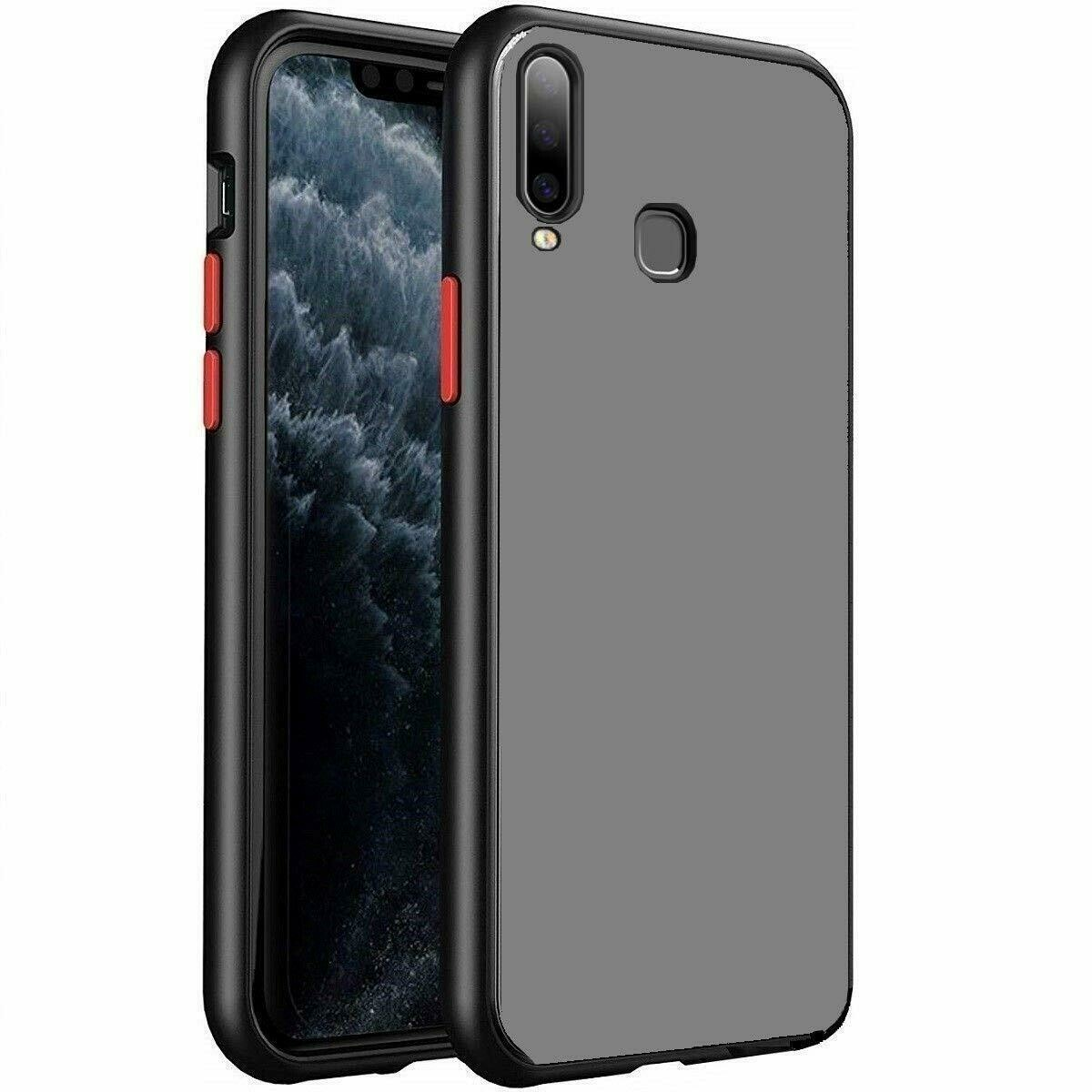 Translucent Hard Matte Finish Reinforced Corners (Shockproof and Anti-Drop Protection) Smoke Cover for Vivo Z1 Pro (Black)