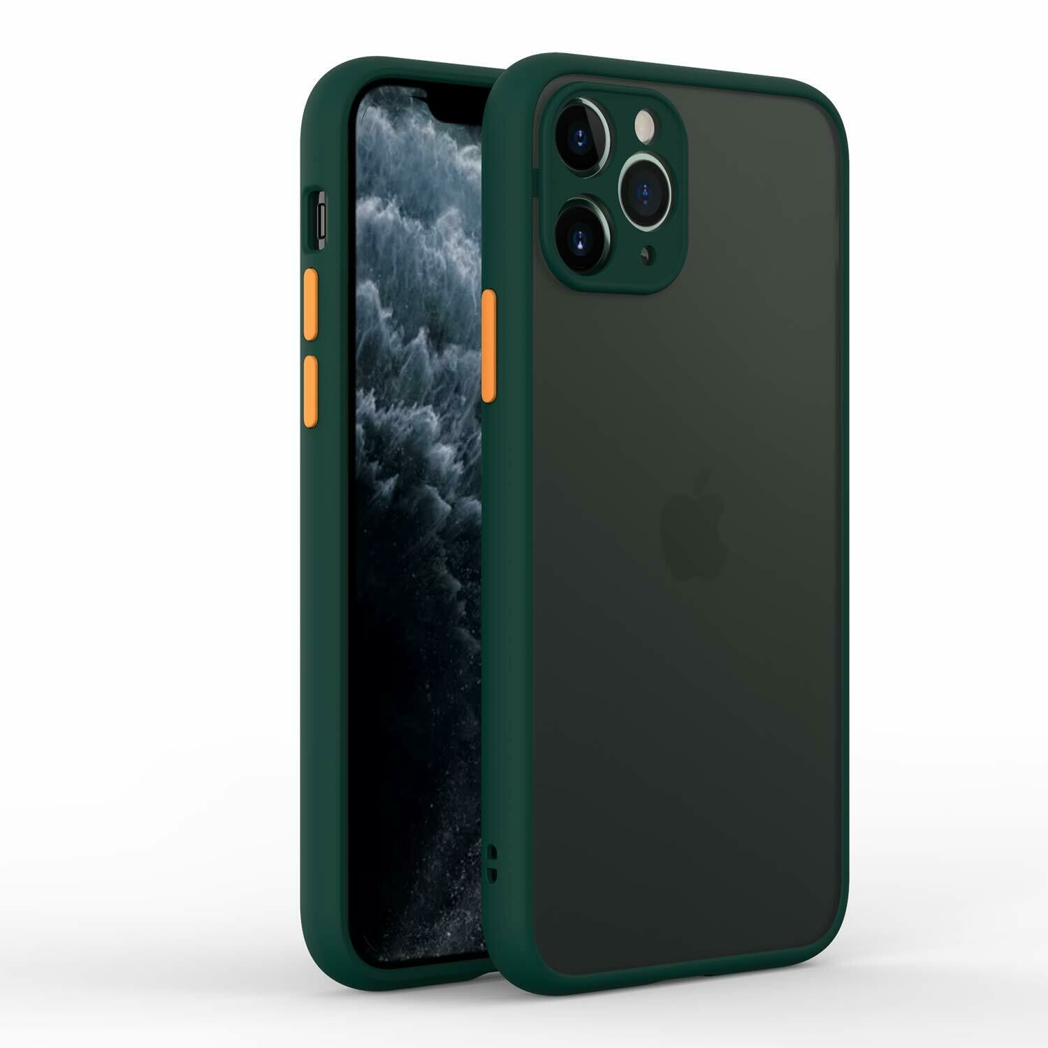 iPhone 11 Pro Smoke Translucent Shock Proof Smooth Rubberized Matte Hard Back Case Cover with Camera Protection (Dark Green)