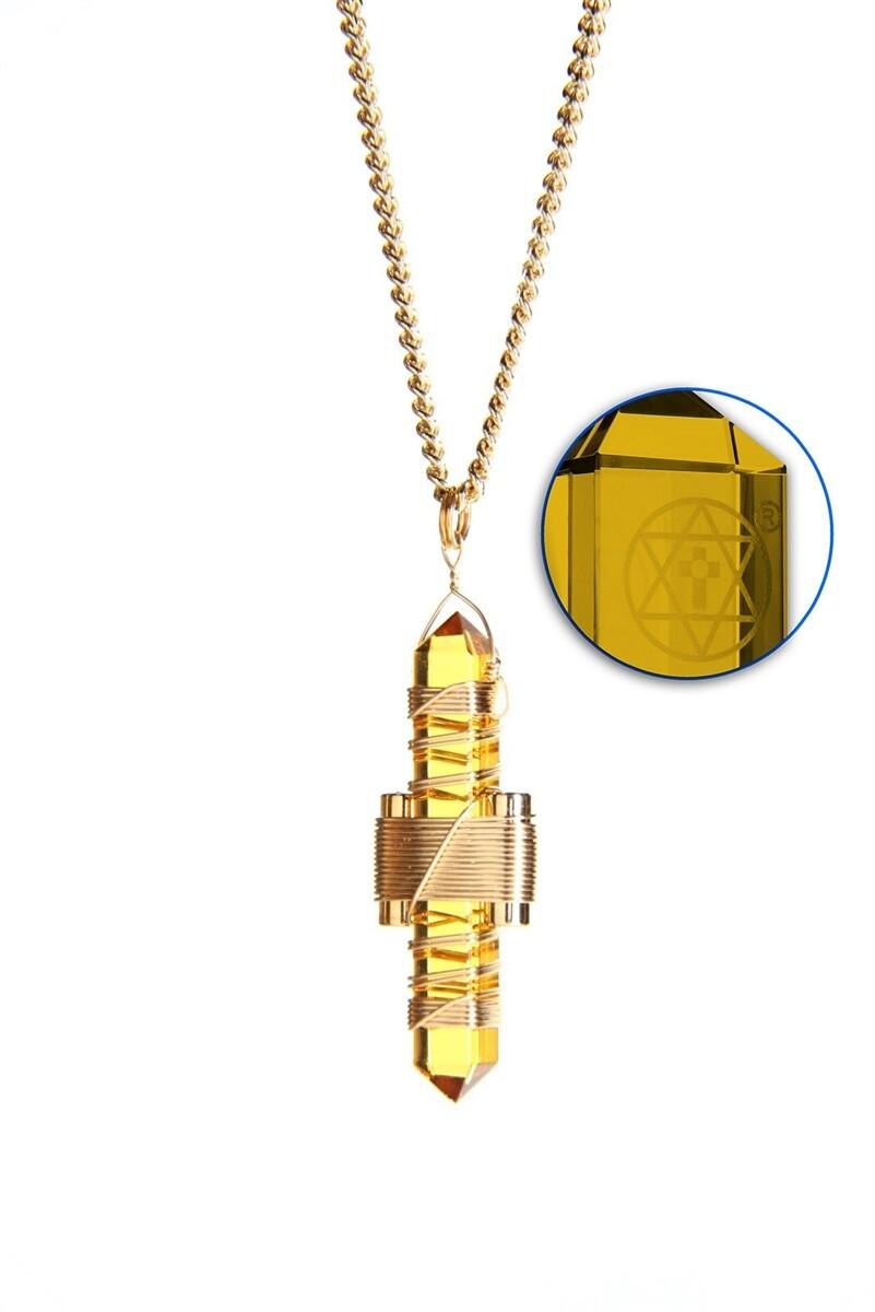 "Buddha Maitreya the Christ 1.75"" Etheric Weaver to Wear in Gold - Gold Siberian Quartz"
