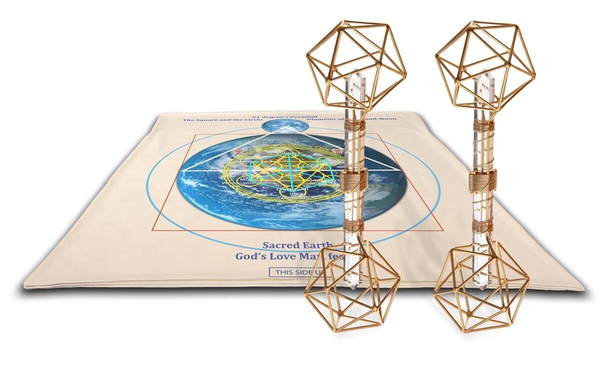 Buddha Maitreya the Christ Archangel Metatron's Cube Shambhala Mat System with 2 Metatron Vajras - full-size