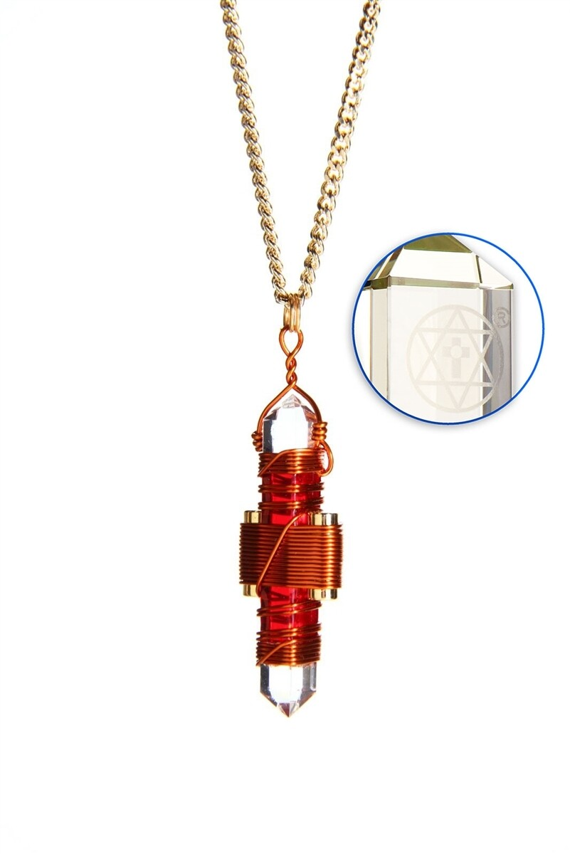 """Buddha Maitreya the Christ 1.75"""" Etheric Weaver to Wear in Copper - Red Gel"""