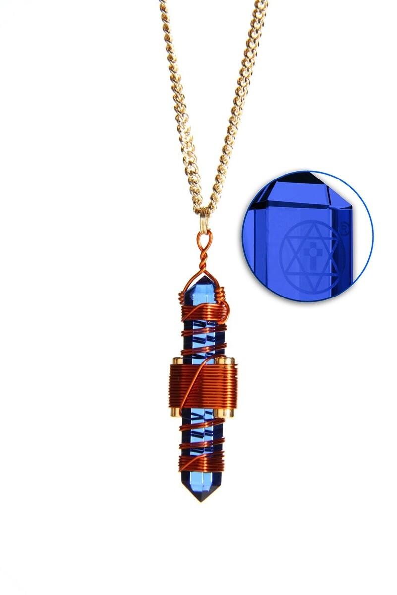 "Buddha Maitreya the Christ 1.75"" Etheric Weaver to Wear in Copper - Blue Siberian Quartz"