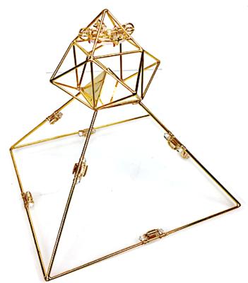 Buddha Maitreya the Christ Shambhala Solar Ascension Head Pyramid with 8 Etheric Weavers - Gold