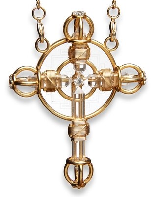 Buddha Maitreya the Christ 24K Gold-plated Shambhala Christ Cross Radiator with 12K Gold-fill wire