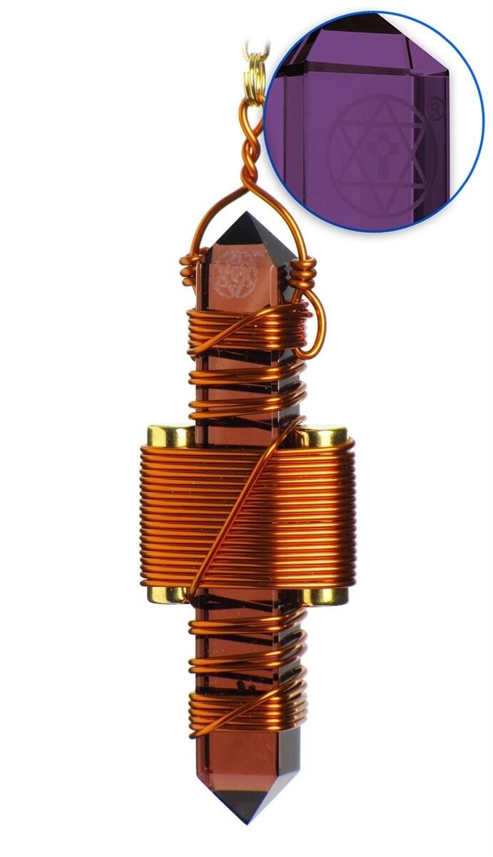 """Buddha Maitreya the Christ 2.5"""" Etheric Weaver in Copper - Violet Siberian Quartz"""