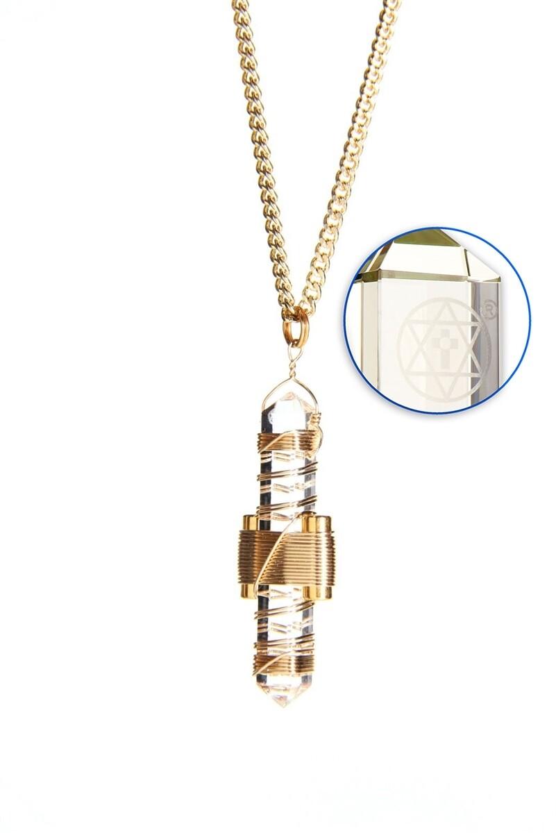 "Buddha Maitreya the Christ 1.75"" Etheric Weaver to Wear in Gold - Clear Quartz"