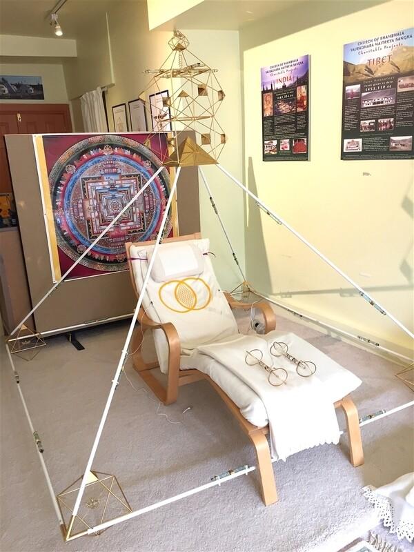 7ft Buddha Maitreya the Christ Shambhala Crystal Solar Cross Ascension Meditation Pyramid System