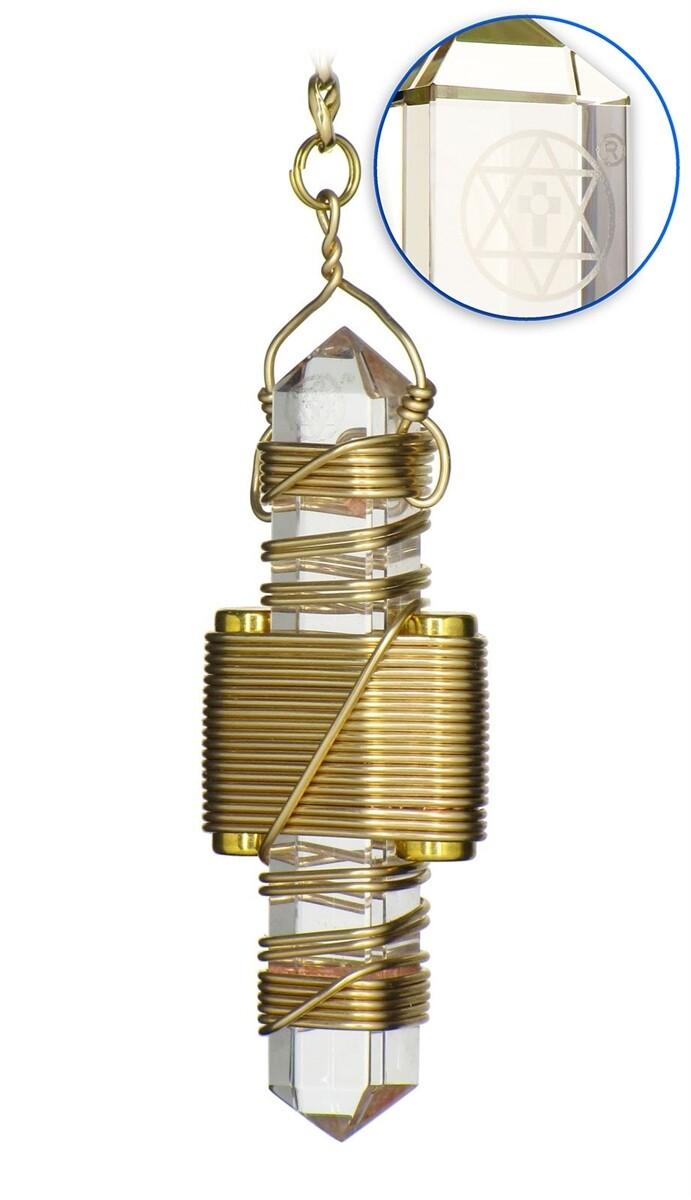 "Buddha Maitreya the Christ 2.5"" Etheric Weaver in Gold - Clear Quartz"