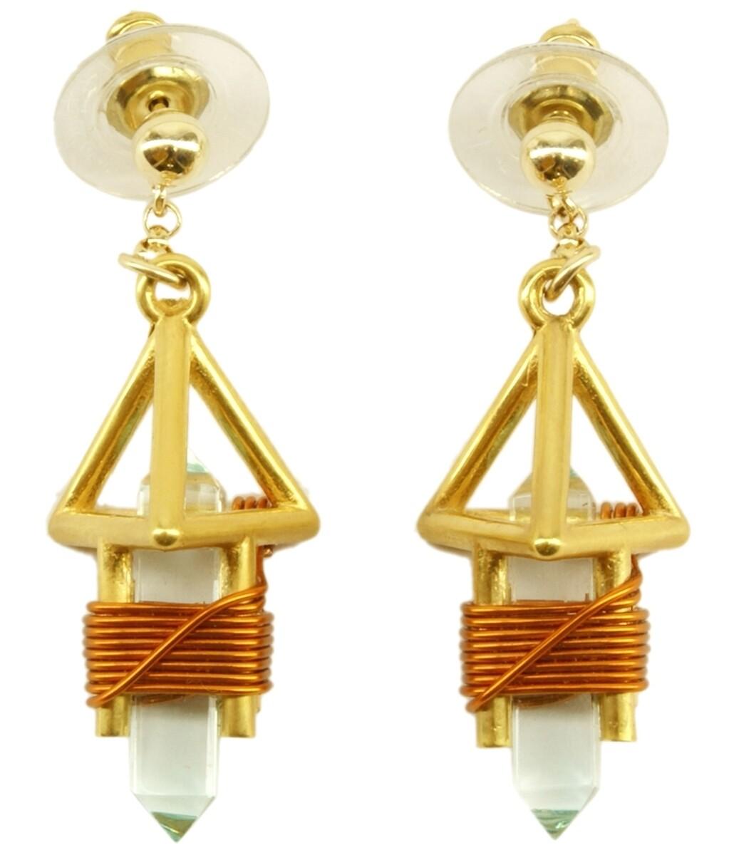 """Buddha Maitreya the Christ 7/8"""" 24k Goldplated Deva Vajra Weaver Earrings - Copper"""
