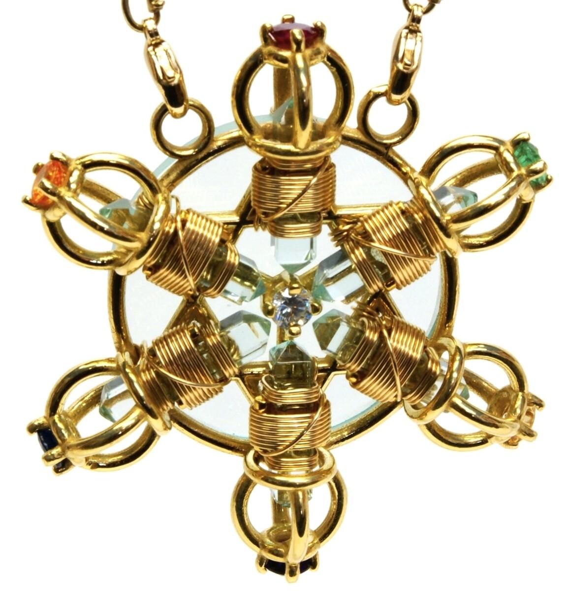 Buddha Maitreya the Christ 24K Gold-plated 7 Ray Shambhala Star Radiator with Semi-precious Stones