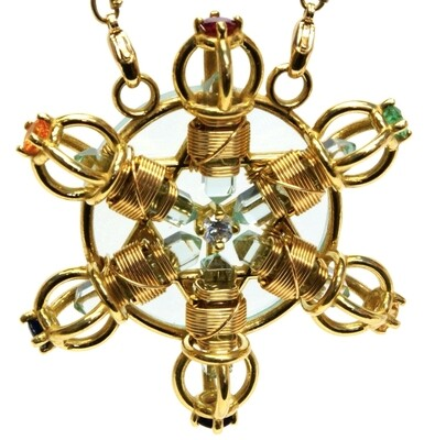 Buddha Maitreya the Christ 24K Gold-plated 7 Ray Shambhala Star Radiator with Semi-precious Stones