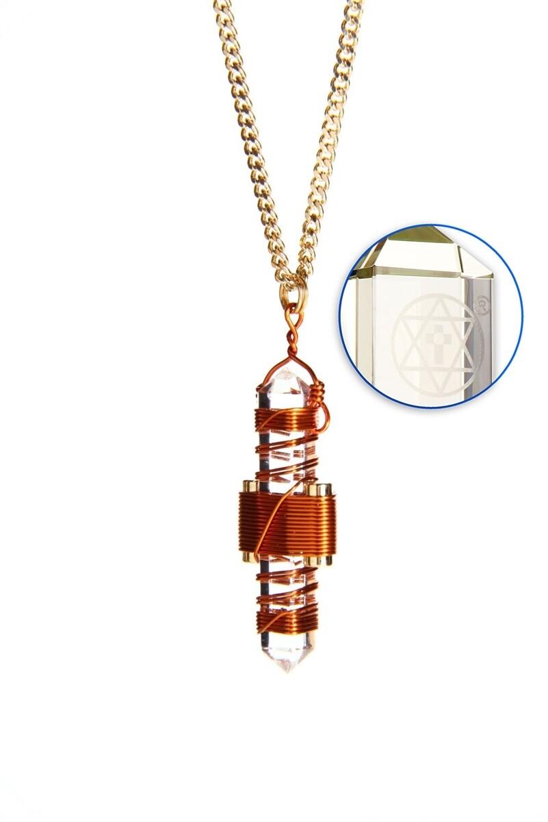 "Buddha Maitreya the Christ 1.75"" Etheric Weaver to Wear in Copper - Clear Quartz"