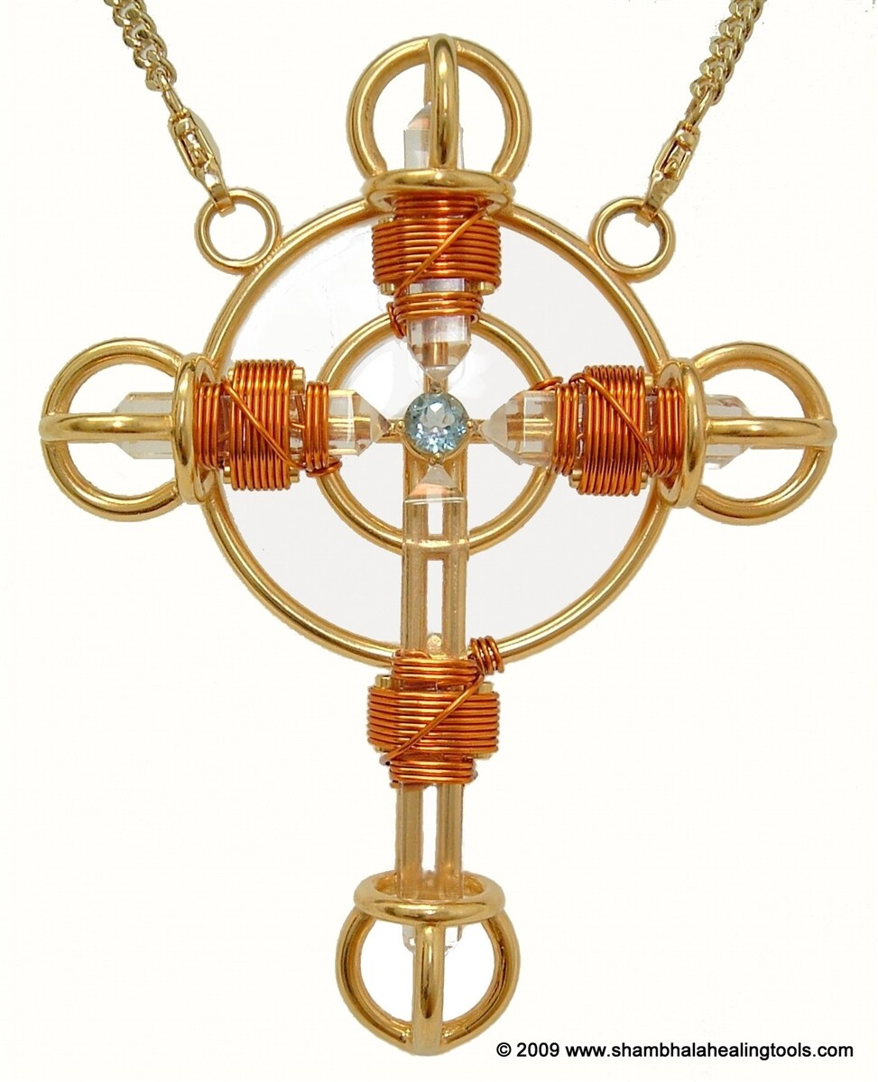 Buddha Maitreya the Christ 24K Gold-plated Shambhala Christ Cross with Copper wire