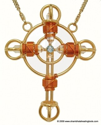 Buddha Maitreya the Christ 24K Gold-plated Shambhala Christ Cross with Copper wire