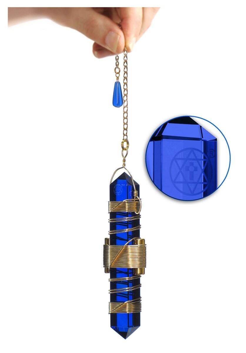 "Buddha Maitreya the Christ 3.5"" Etheric Weaver in Gold - Blue Siberian Quartz"