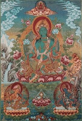 Green Tara with Amitabha - Poster Print