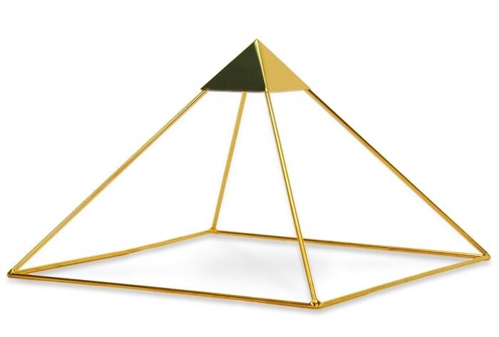 "Buddha Maitreya the Christ 9"" Meditation Head Pyramid with Capstone - 24k Gold-plated Copper"