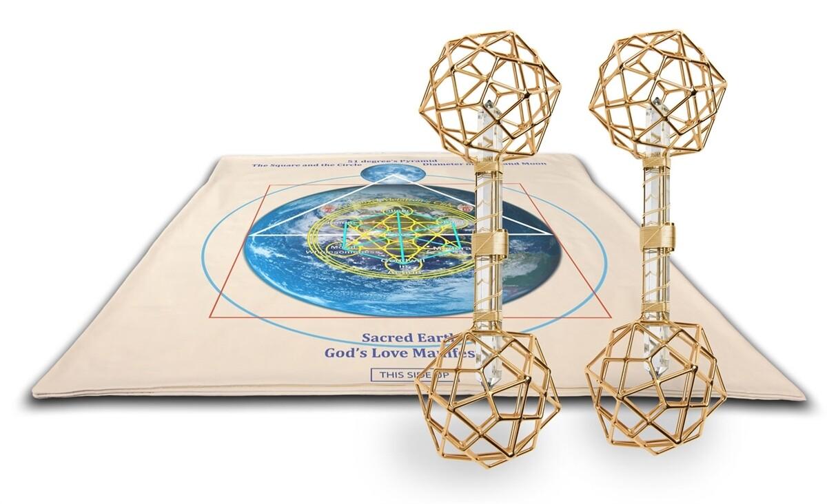Buddha Maitreya the Christ Archangel Metatron's Cube Shambhala Mat System with 2 Christ Consciousness Vajras - Gold