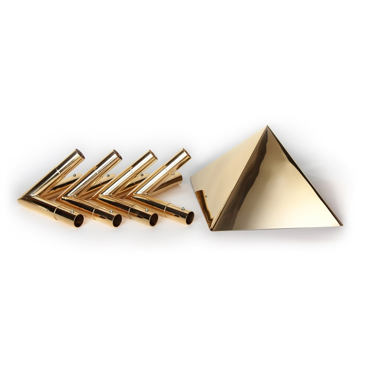 """Meditation Pyramid 24K Gold-plated Connector Kit with 10"""" Capstone - Fits 1 Inch Type M Copper Poles"""