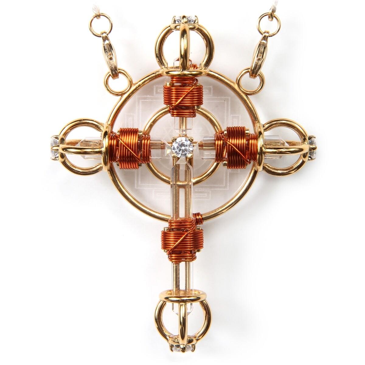 Buddha Maitreya the Christ 24K Gold-plated Shambhala Christ Cross Radiator with Copper wire