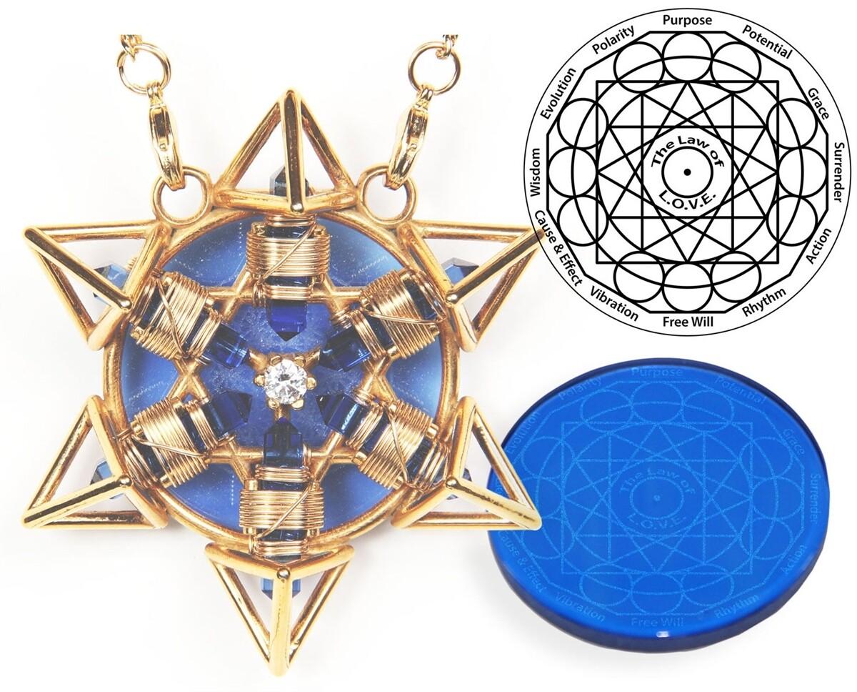 Buddha Maitreya the Christ 24K Gold-plated Shambhala Star Tetra with 12k Gold-fill wire