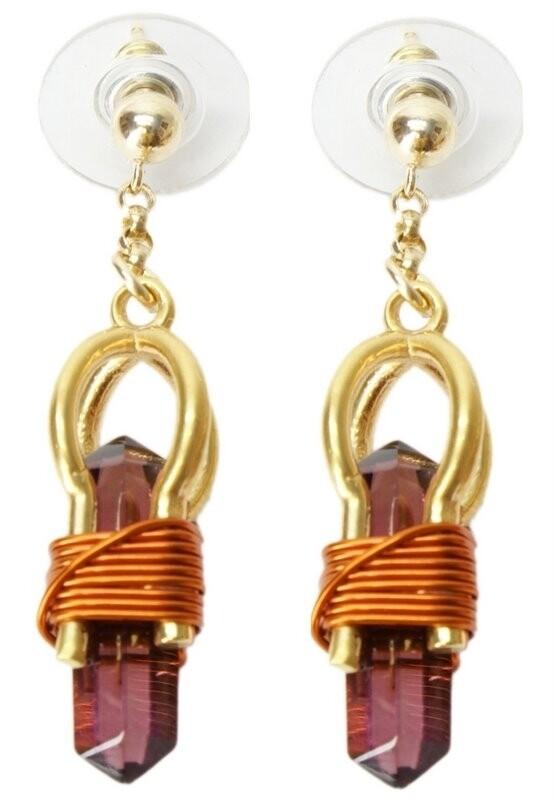 """Buddha Maitreya the Christ 7/8"""" 24k Goldplated Sky Vajra Weaver Earrings"""