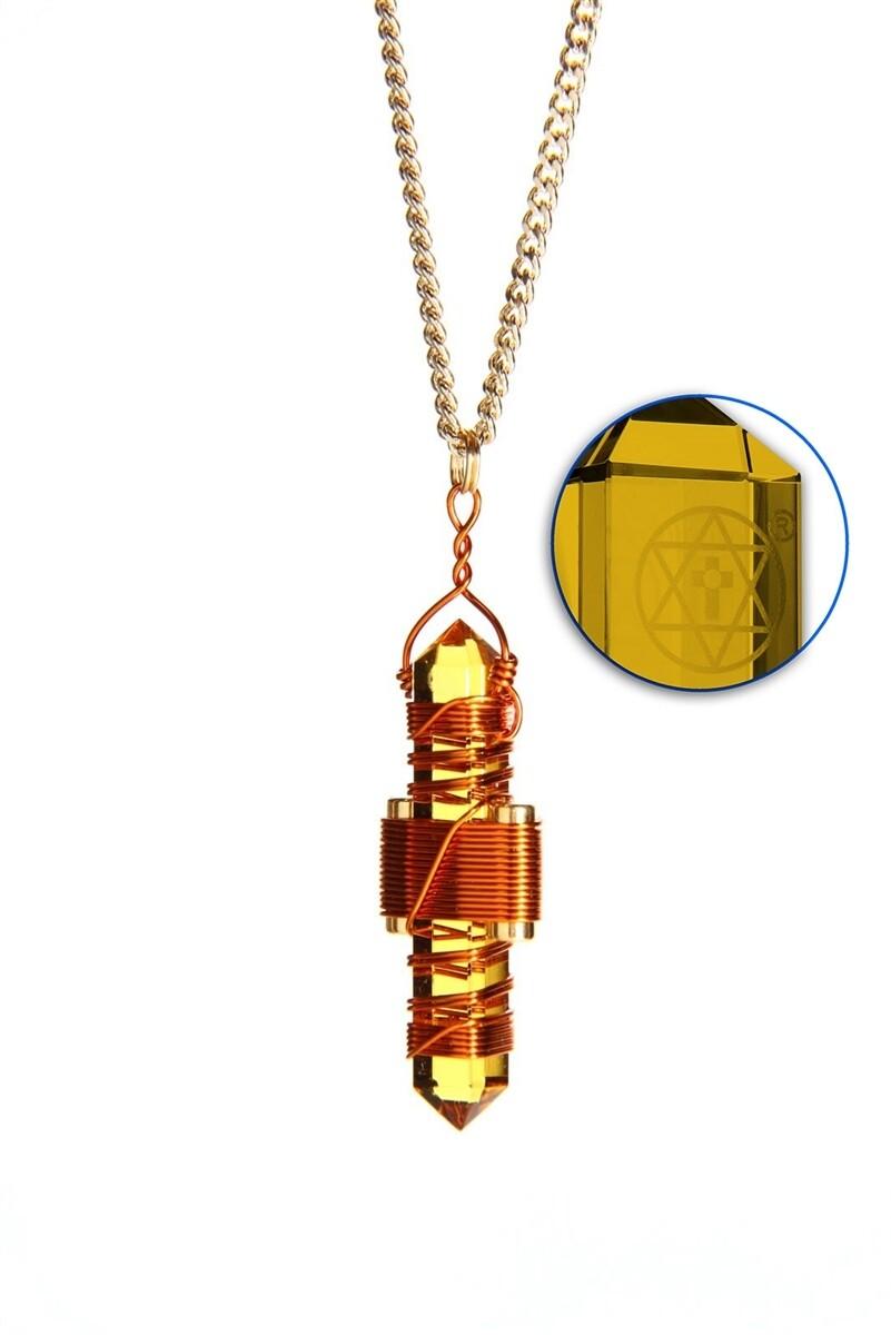 "Buddha Maitreya the Christ 1.75"" Etheric Weaver to Wear in Copper - Gold Siberian Quartz"