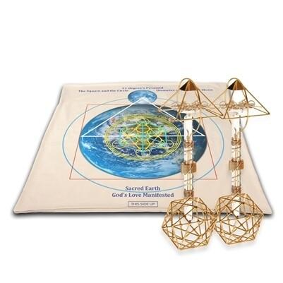 Buddha Maitreya the Christ Archangel Metatron's Cube Mat with Christ Consciousness Shambhala Ascension Vajras - Gold - full-size
