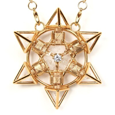 Buddha Maitreya the Christ 24K Gold-plated Shambhala Star Tetra with 12k Gold-fill wire