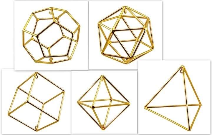 Set of Platonic Solids - Medium