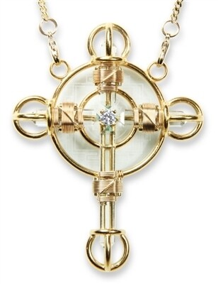 Buddha Maitreya the Christ 24K Gold-plated Shambhala Christ Cross with 12K Gold-fill wire