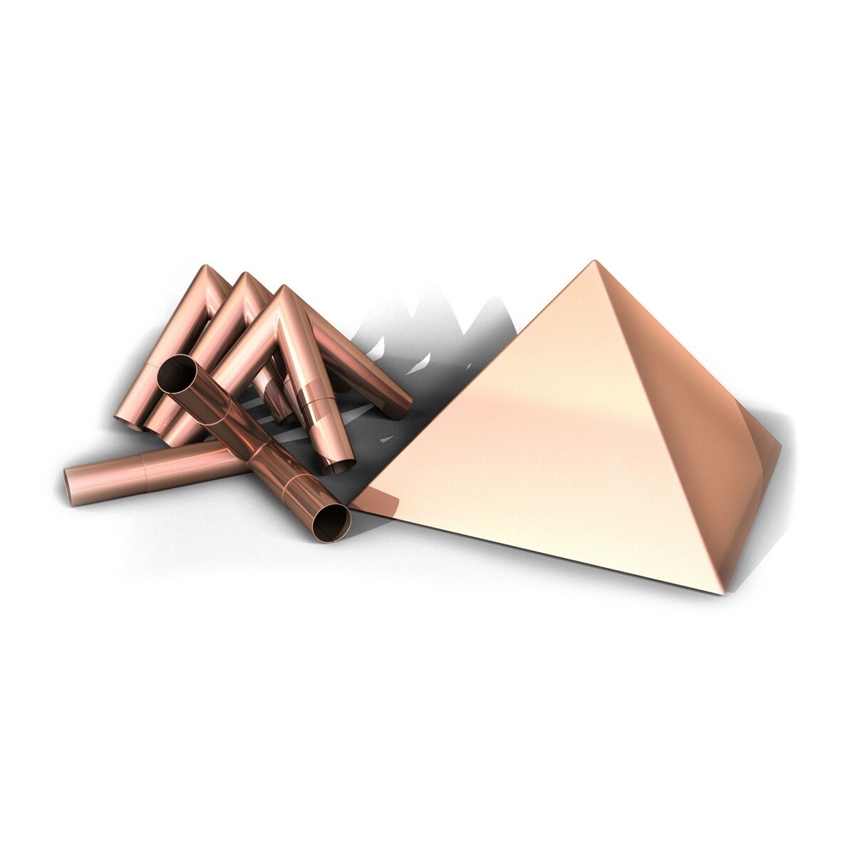 "Meditation Pyramid Polished Copper Connector Kit with 10"" Capstone - Fits 1 Inch Type M Copper Poles"