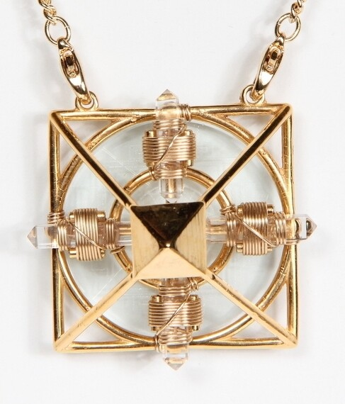 Buddha Maitreya the Christ 24K Gold-plated Ascension Sri Yantra Solar Form with 12k Gold-fill wire
