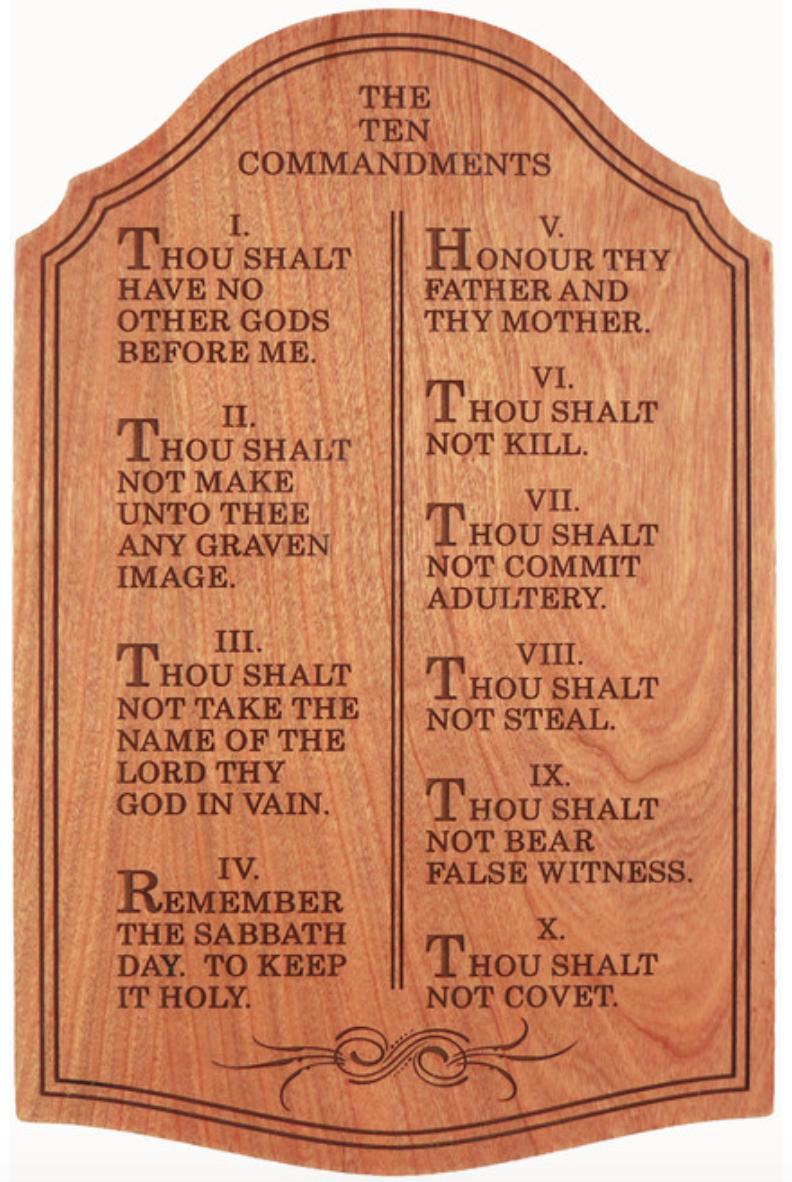 10 Commandments - Wood Plaque