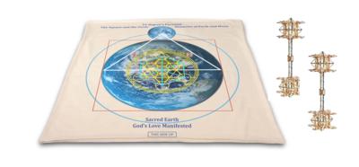 Buddha Maitreya the Christ Archangel Metatron's Cube Mat with Maitreya Solar Cross Vajras - Gold - full-size