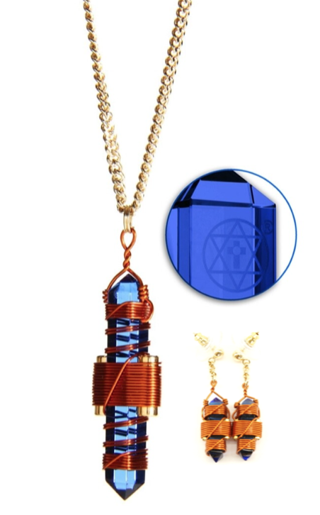 Etheric Weaver Pendant and Earring Set in Copper