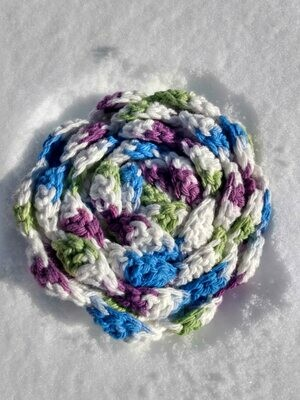 Crocheted Cotton Loofah Blue and Purple Varigated
