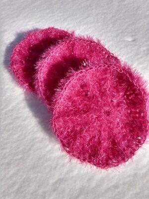 Crocheted Sanddollar Scrubbie Fushia