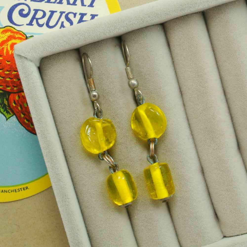 Серьги с желтым стеклом