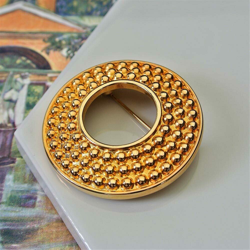 Винтажная золотистая брошь-кольцо Swarovski