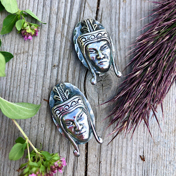 Винтажные серебряные клипсы с головами индейцев