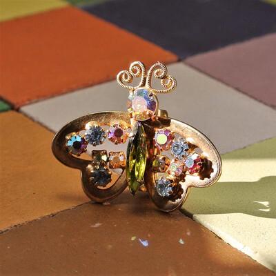 Винтажная брошь-бабочка с кристаллами Aurora Borealis