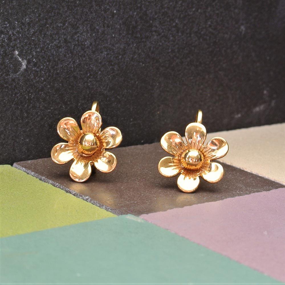 Золотистые винтажные клипсы-цветочки