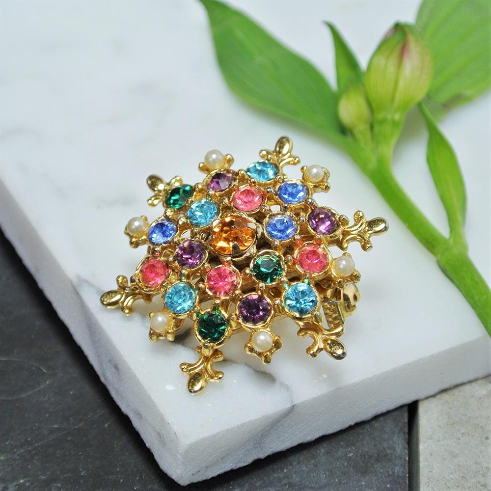 Винтажная брошь-кулон с цветными кристаллами