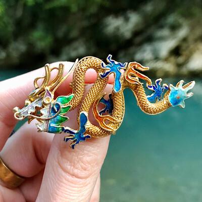 Антикварная серебряная брошь-дракон с позолотой, экспортный Китай