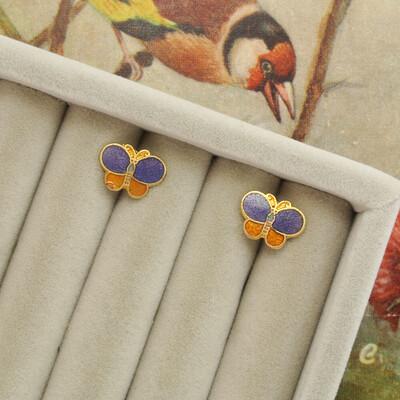 Винтажные серьги-бабочки с эмалью клуазоне