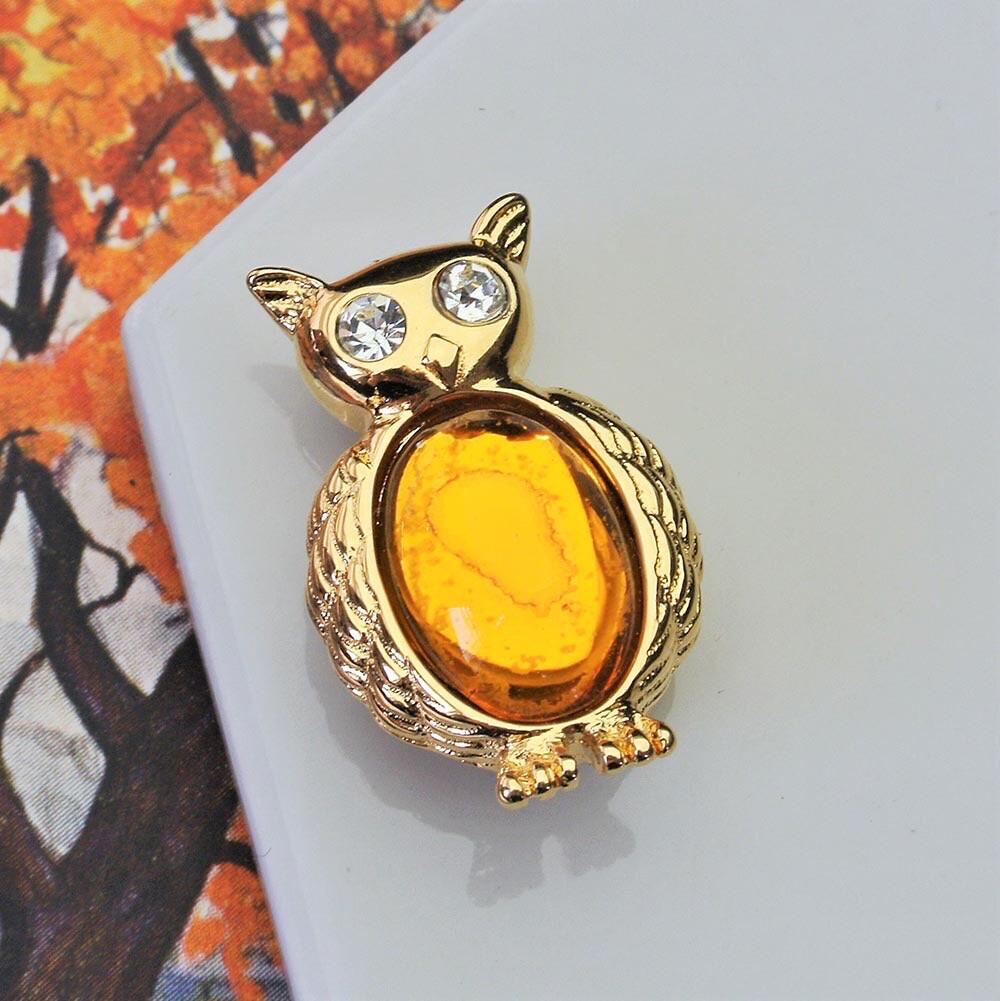 Осенняя сова-брошь Monet с янтарным пузиком