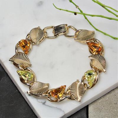 Винтажный браслет Coro Pegasus с листиками и кристаллами