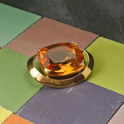 Винтажная брошь с янтарным кристаллом, Англия