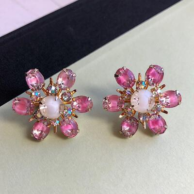 Винтажные розовые клипсы-цветы Coro